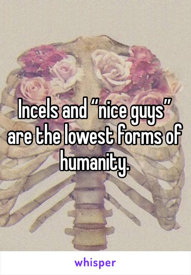 """Incels and """"nice guys"""" are the lowest forms of humanity."""