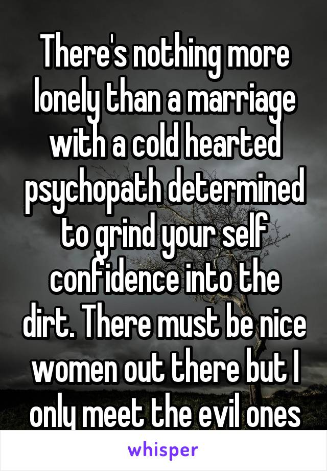 There's nothing more lonely than a marriage with a cold hearted psychopath determined to grind your self confidence into the dirt. There must be nice women out there but I only meet the evil ones