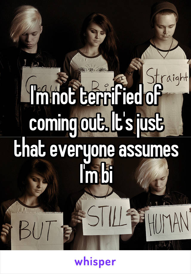 I'm not terrified of coming out. It's just that everyone assumes I'm bi