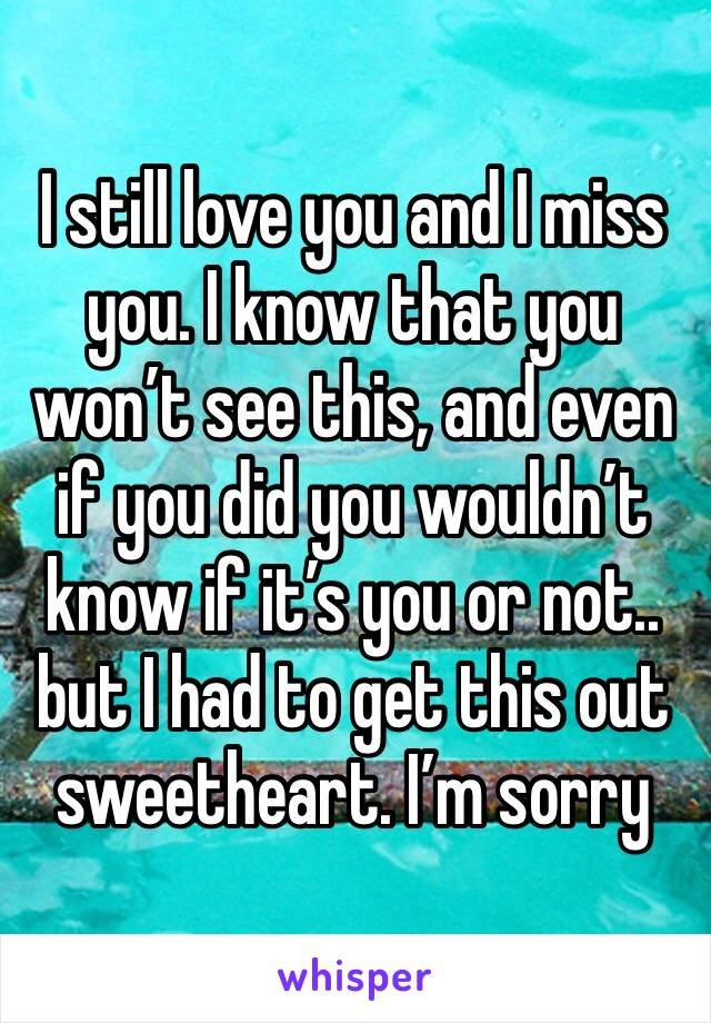 I still love you and I miss you. I know that you won't see this, and even if you did you wouldn't know if it's you or not.. but I had to get this out sweetheart. I'm sorry