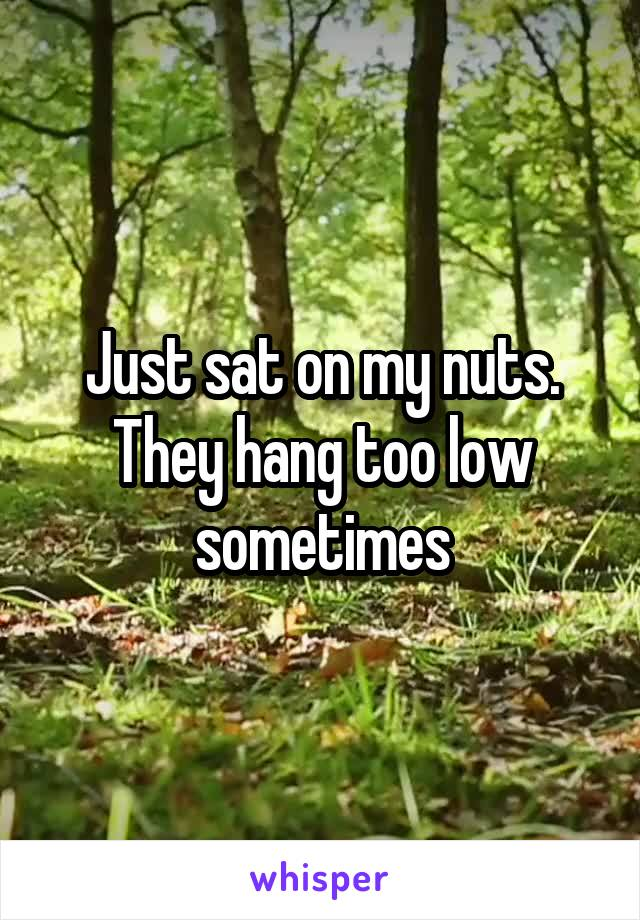 Just sat on my nuts. They hang too low sometimes