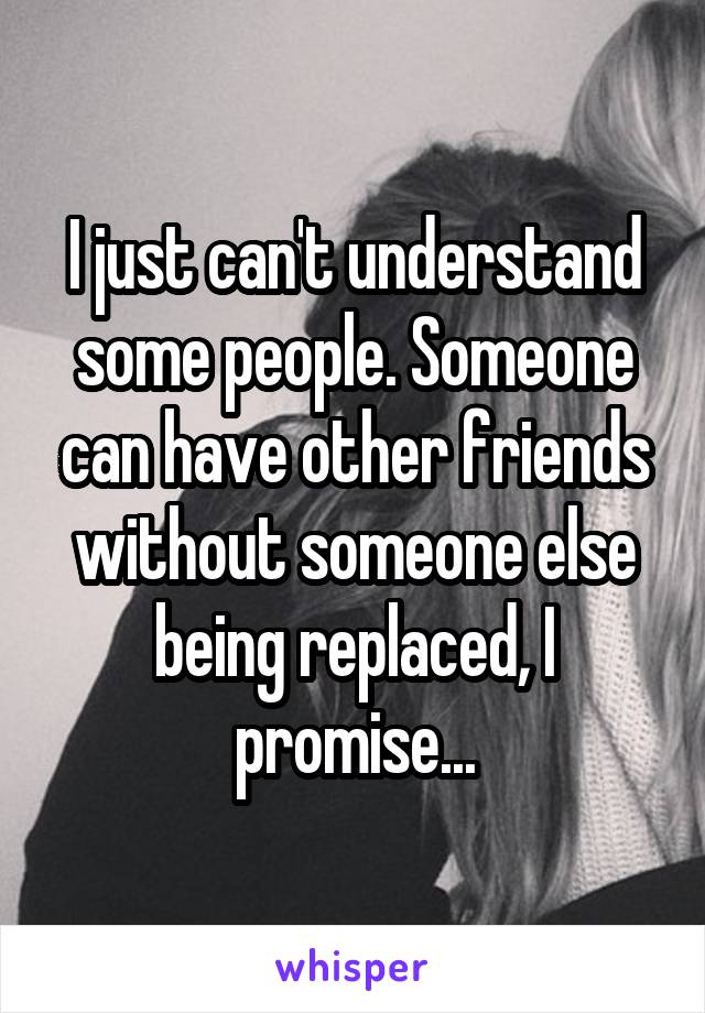 I just can't understand some people. Someone can have other friends without someone else being replaced, I promise...