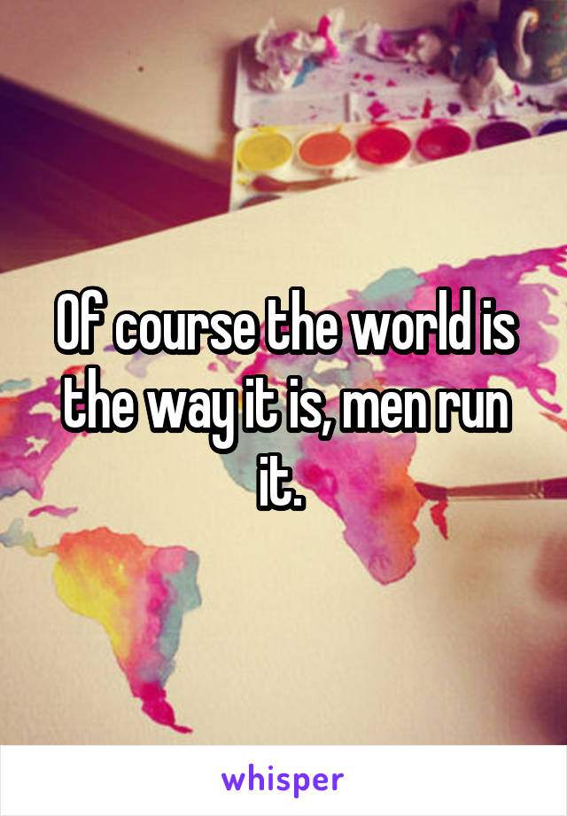 Of course the world is the way it is, men run it.