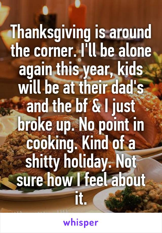 Thanksgiving is around the corner. I'll be alone again this year, kids will be at their dad's and the bf & I just broke up. No point in cooking. Kind of a shitty holiday. Not sure how I feel about it.