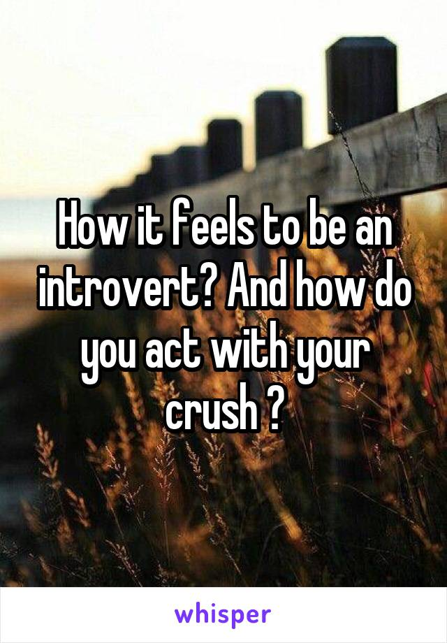 How it feels to be an introvert? And how do you act with your crush ?