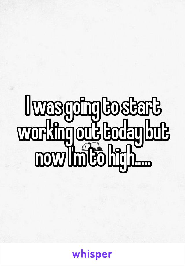 I was going to start working out today but now I'm to high.....