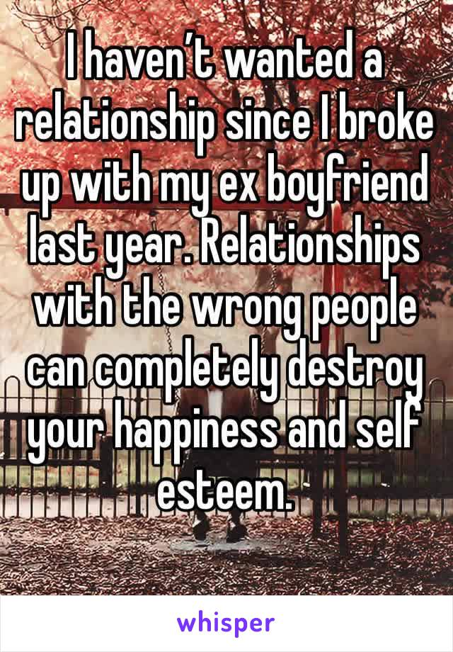 I haven't wanted a relationship since I broke up with my ex boyfriend last year. Relationships with the wrong people can completely destroy your happiness and self esteem.