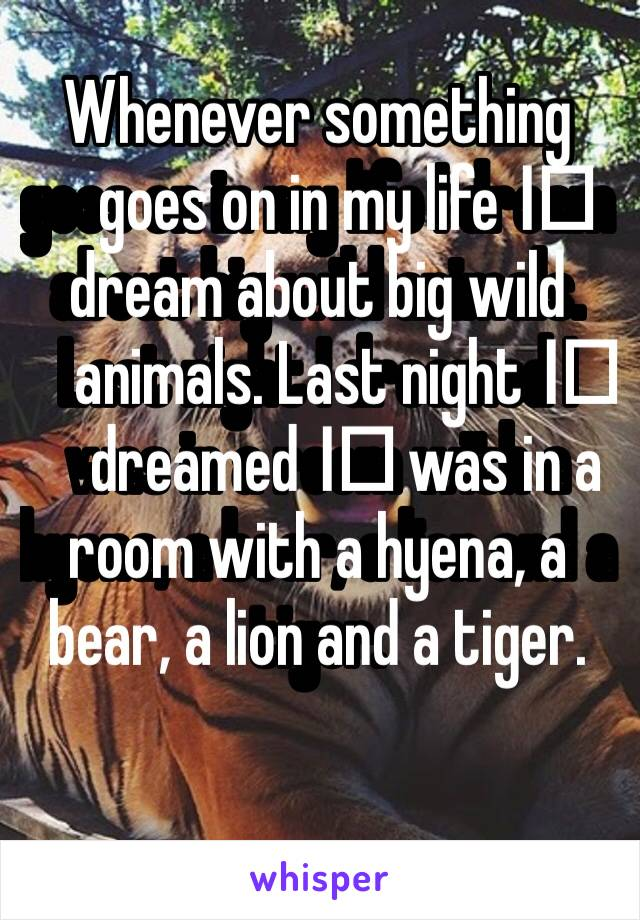 Whenever something goes on in my life I️ dream about big wild animals. Last night I️ dreamed I️ was in a room with a hyena, a bear, a lion and a tiger.