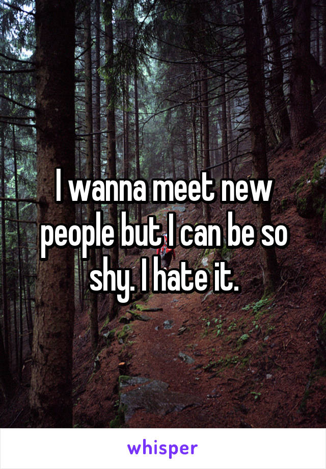 I wanna meet new people but I can be so shy. I hate it.