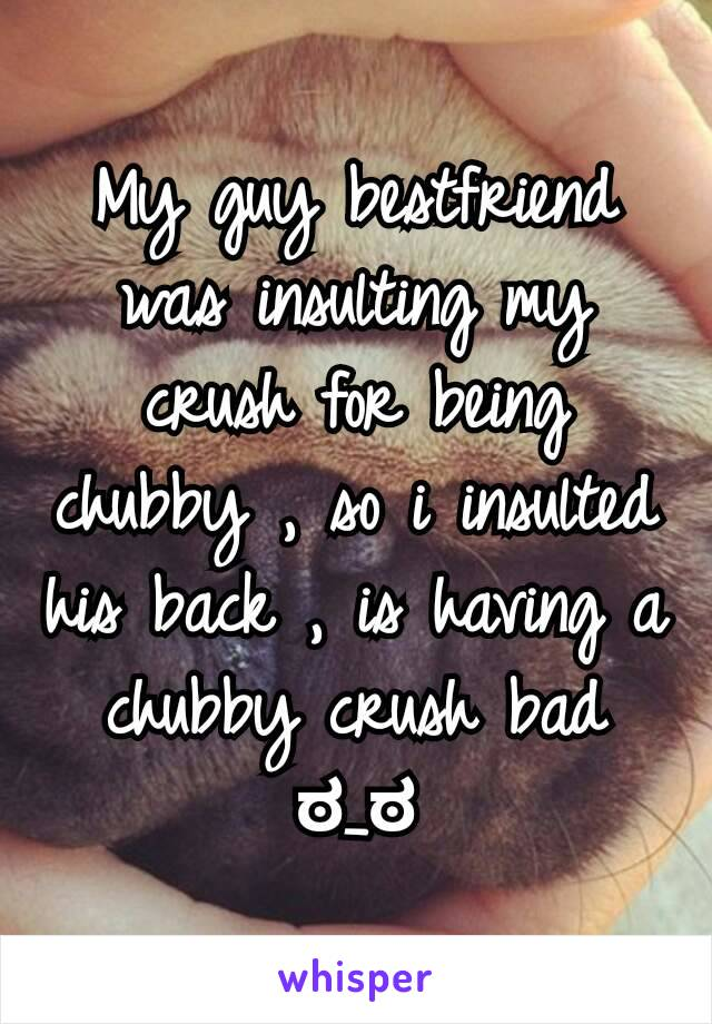 My guy bestfriend was insulting my crush for being chubby , so i insulted his back , is having a chubby crush bad ಠ_ಠ