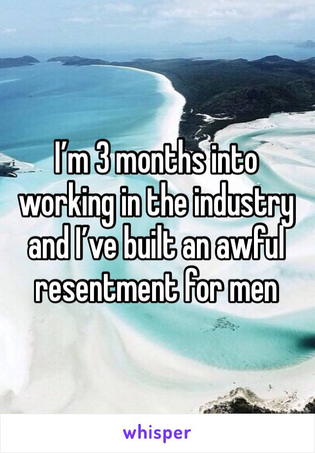 I'm 3 months into working in the industry and I've built an awful resentment for men