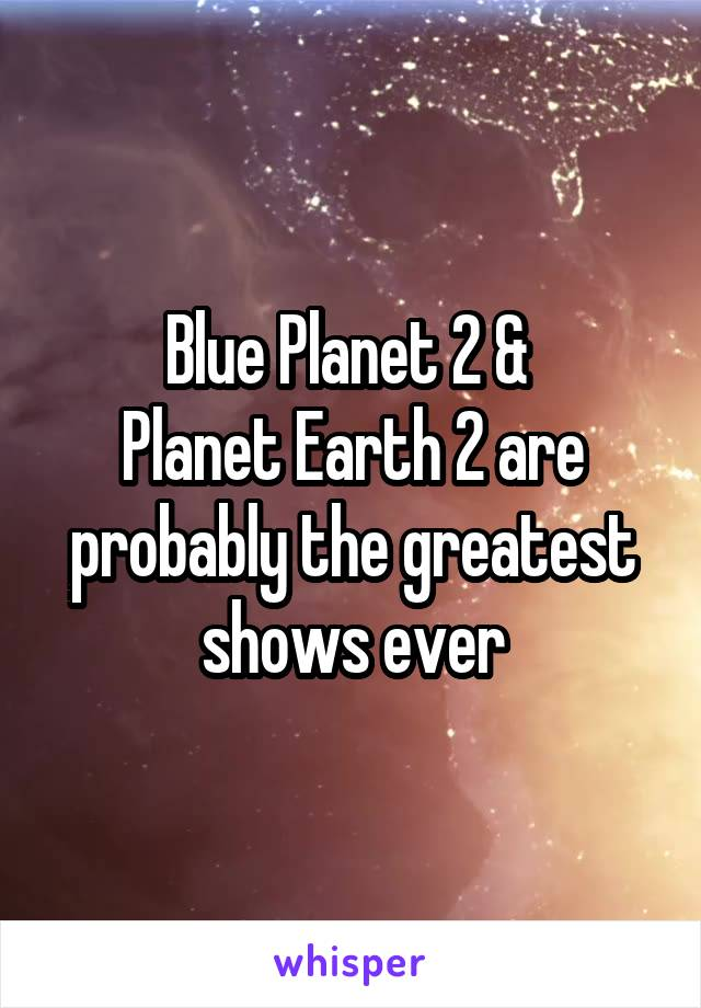 Blue Planet 2 &  Planet Earth 2 are probably the greatest shows ever