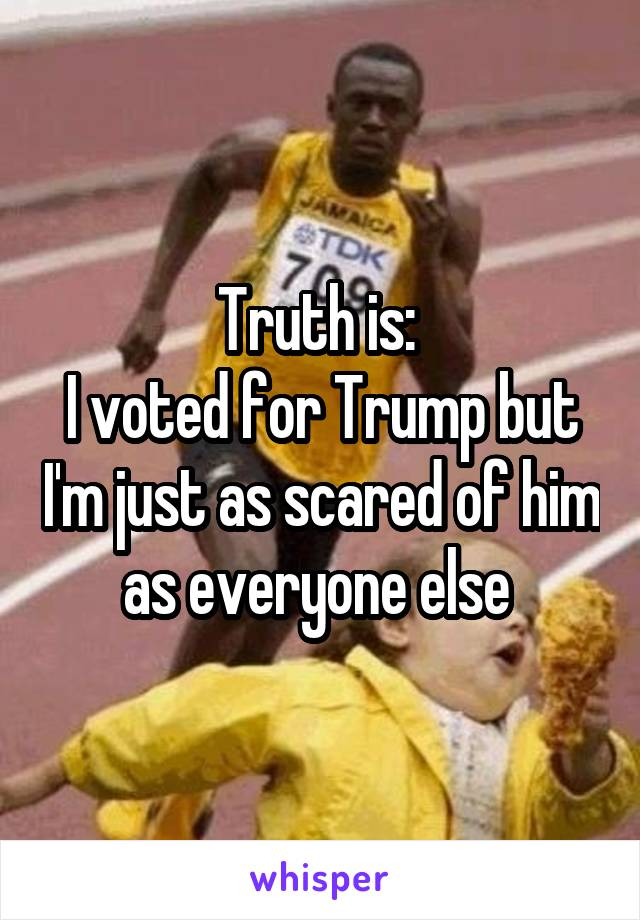 Truth is:  I voted for Trump but I'm just as scared of him as everyone else