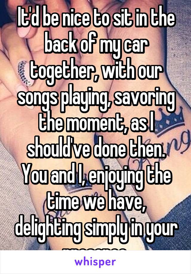 It'd be nice to sit in the back of my car together, with our songs playing, savoring the moment, as I should've done then. You and I, enjoying the time we have, delighting simply in your presence.
