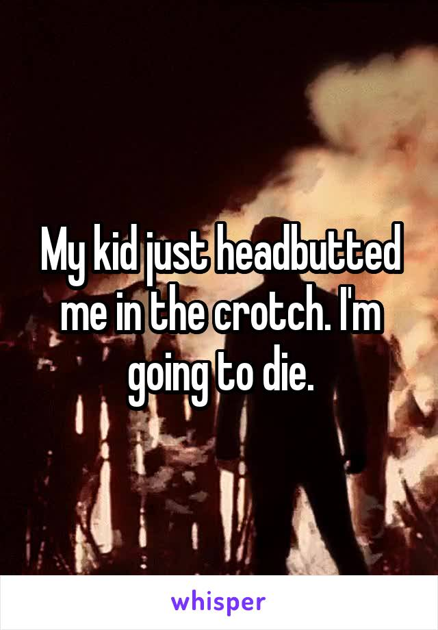 My kid just headbutted me in the crotch. I'm going to die.