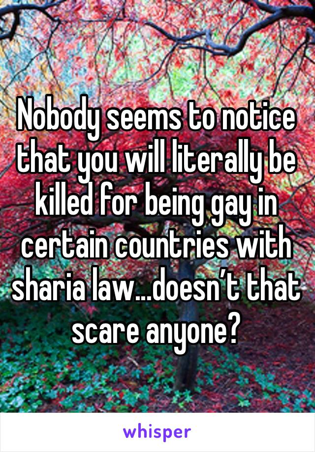 Nobody seems to notice that you will literally be killed for being gay in certain countries with sharia law...doesn't that scare anyone?