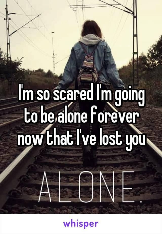 I'm so scared I'm going to be alone forever now that I've lost you