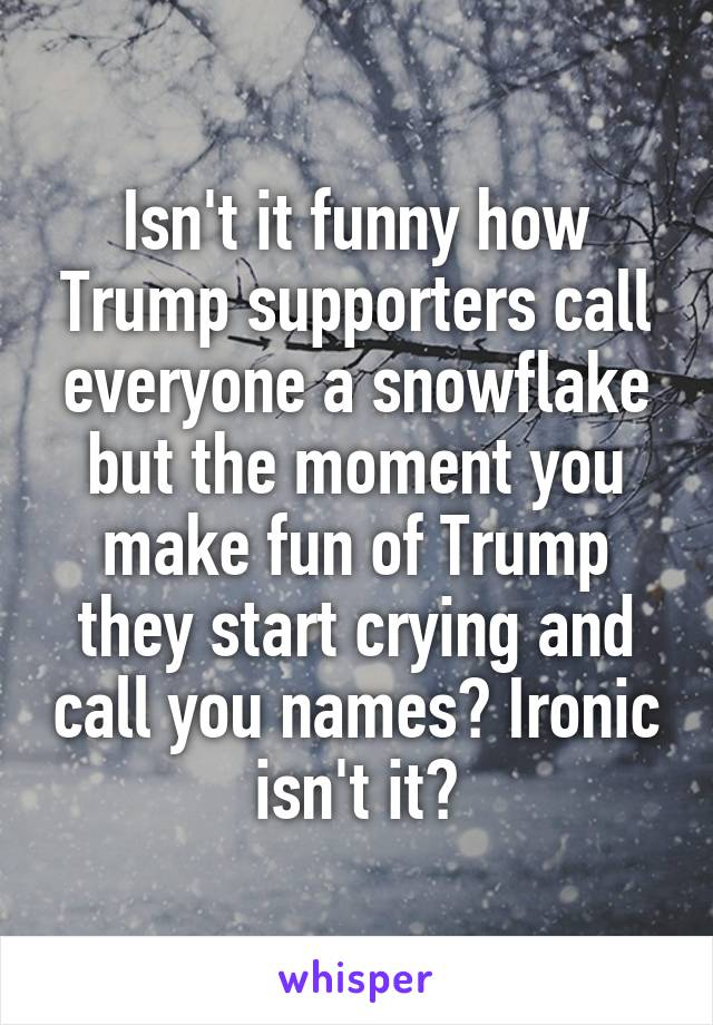 Isn't it funny how Trump supporters call everyone a snowflake but the moment you make fun of Trump they start crying and call you names? Ironic isn't it?