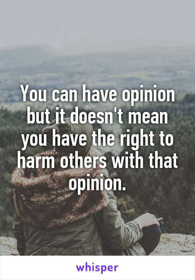 You can have opinion but it doesn't mean you have the right to harm others with that opinion.