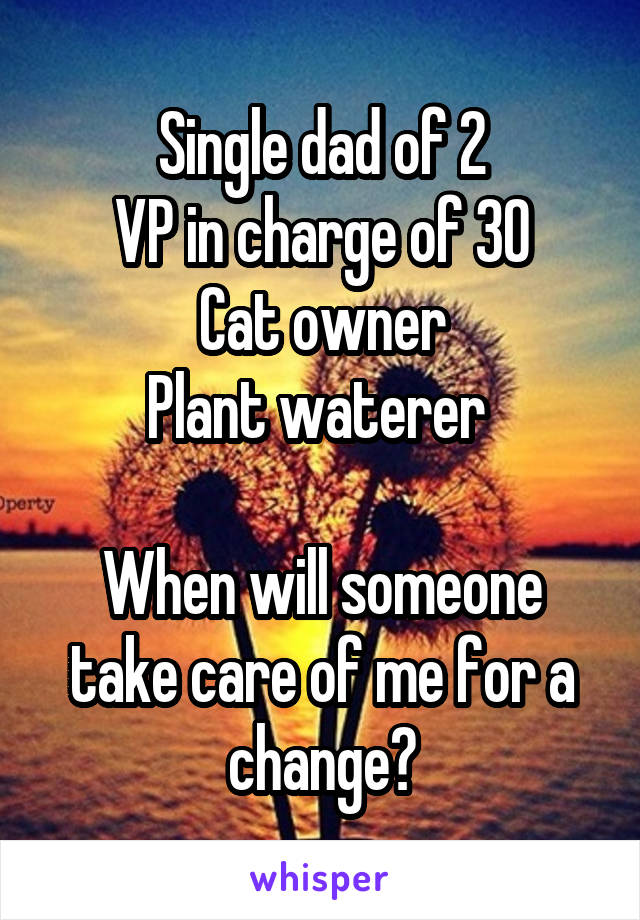 Single dad of 2 VP in charge of 30 Cat owner Plant waterer   When will someone take care of me for a change?