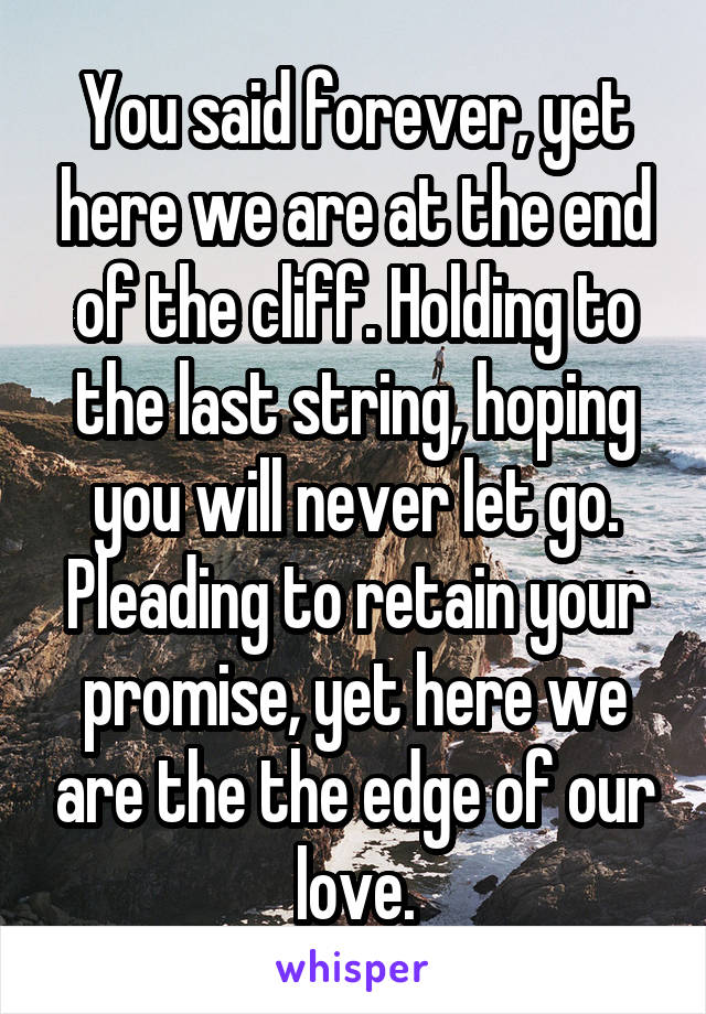 You said forever, yet here we are at the end of the cliff. Holding to the last string, hoping you will never let go. Pleading to retain your promise, yet here we are the the edge of our love.