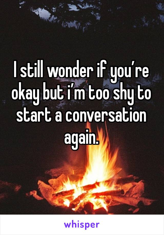 I still wonder if you're okay but i'm too shy to start a conversation again.