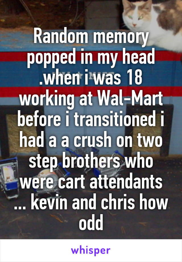 Random memory popped in my head .when i was 18 working at Wal-Mart before i transitioned i had a a crush on two step brothers who were cart attendants ... kevin and chris how odd