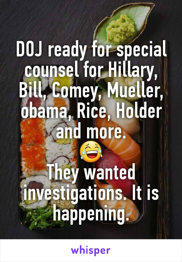 DOJ ready for special counsel for Hillary, Bill, Comey, Mueller, obama, Rice, Holder and more. 😂 They wanted investigations. It is happening.