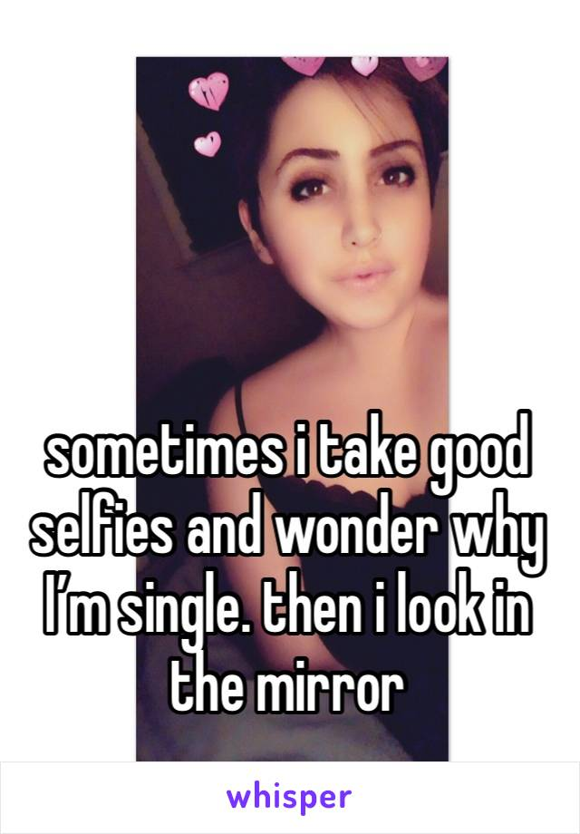 sometimes i take good selfies and wonder why I'm single. then i look in the mirror