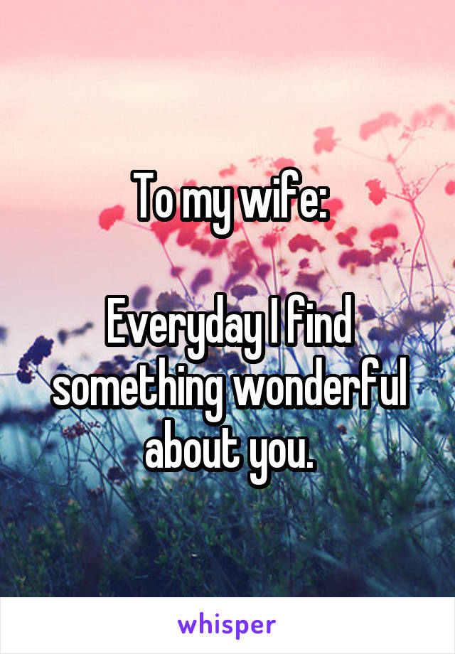 To my wife:  Everyday I find something wonderful about you.