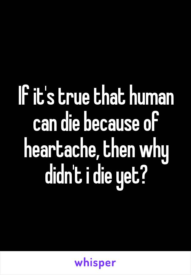 If it's true that human can die because of heartache, then why didn't i die yet?