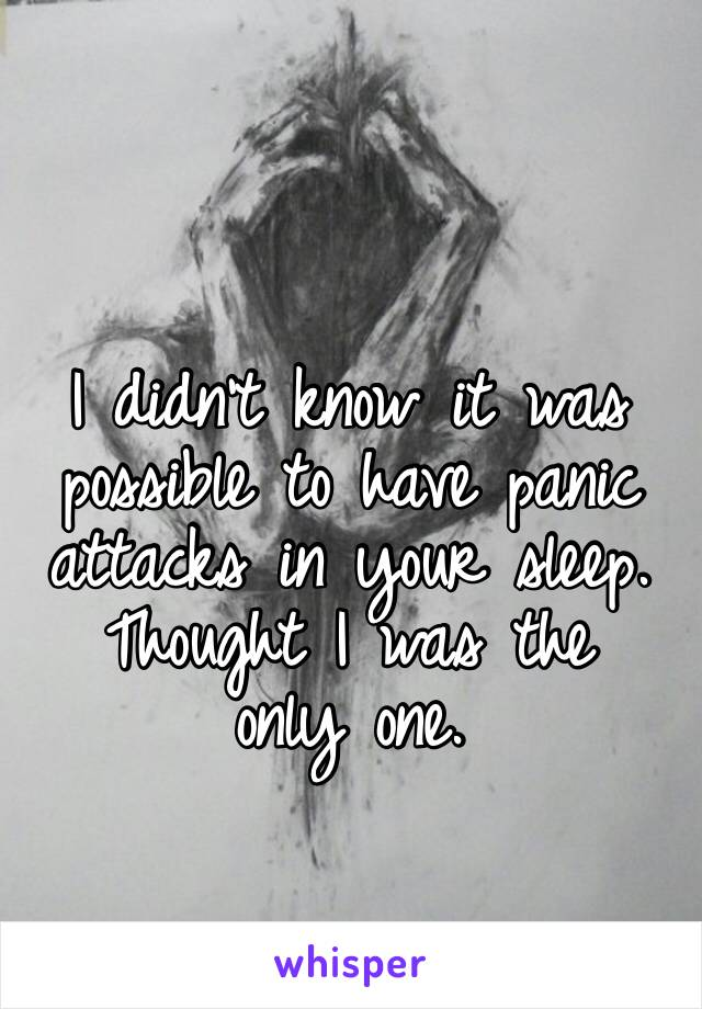 I didn't know it was possible to have panic attacks in your sleep. Thought I was the only one.