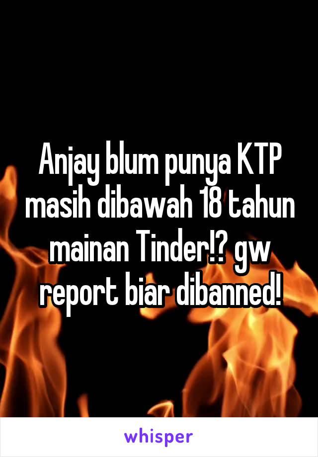 Anjay blum punya KTP masih dibawah 18 tahun mainan Tinder!? gw report biar dibanned!