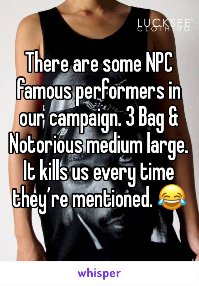 There are some NPC famous performers in our campaign. 3 Bag & Notorious medium large. It kills us every time they're mentioned. 😂
