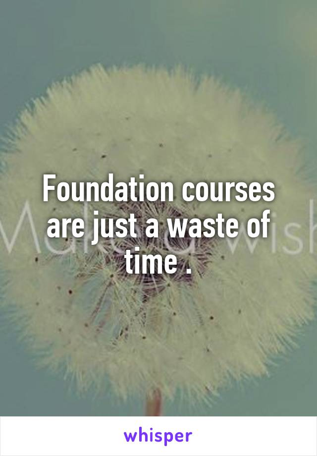 Foundation courses are just a waste of time .