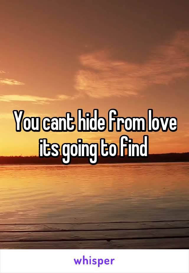 You cant hide from love its going to find