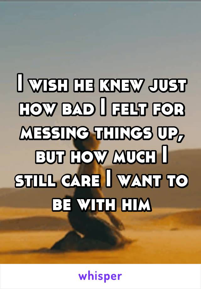 I wish he knew just how bad I felt for messing things up, but how much I still care I want to be with him