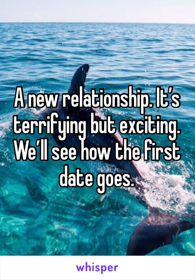 A new relationship. It's terrifying but exciting. We'll see how the first date goes.