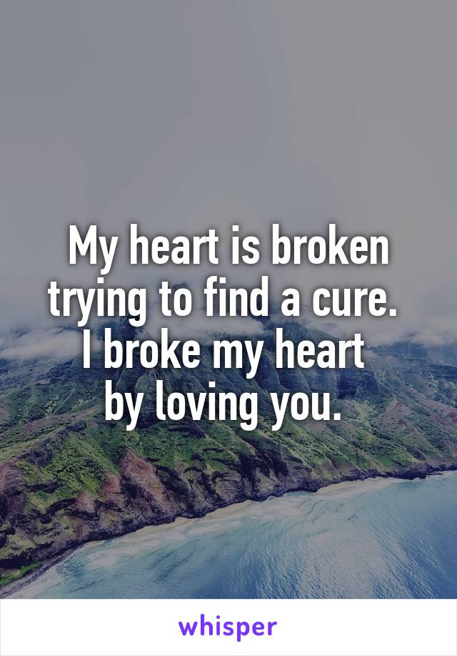My heart is broken trying to find a cure.  I broke my heart  by loving you.