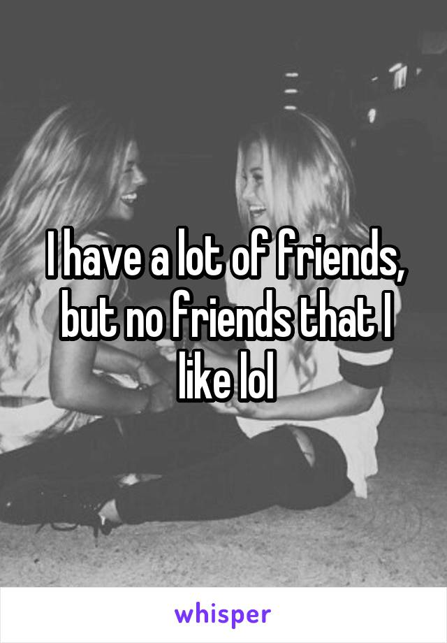 I have a lot of friends, but no friends that I like lol