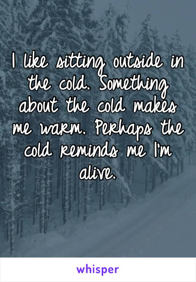 I like sitting outside in the cold. Something about the cold makes me warm. Perhaps the cold reminds me I'm alive.