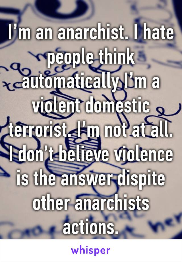 I'm an anarchist. I hate people think automatically I'm a violent domestic terrorist. I'm not at all. I don't believe violence is the answer dispite other anarchists actions.