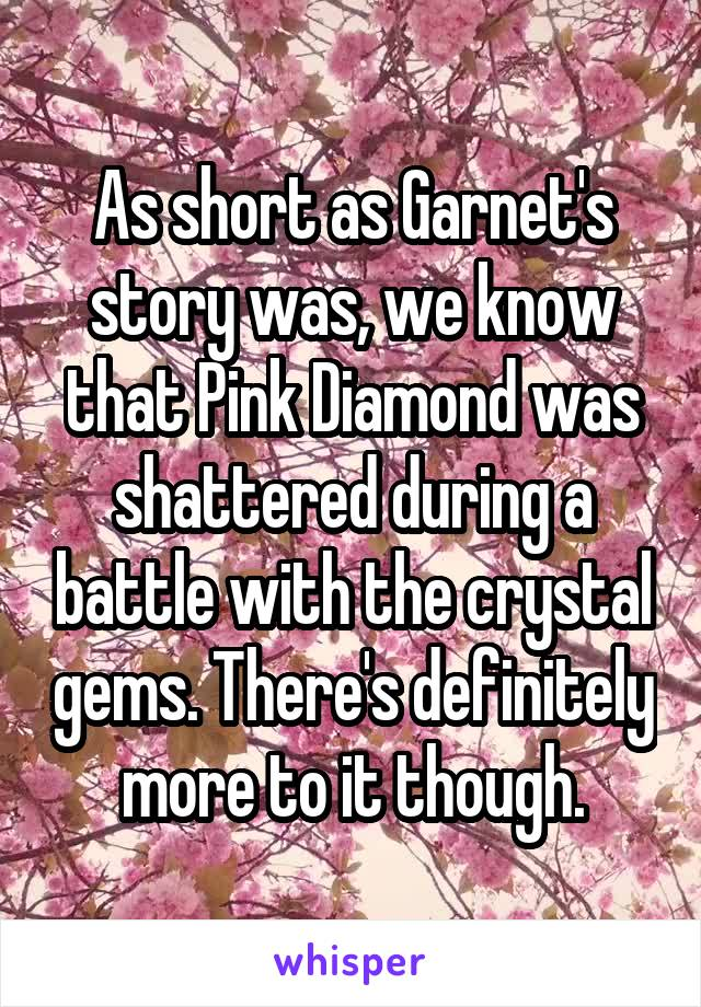 As short as Garnet's story was, we know that Pink Diamond was shattered during a battle with the crystal gems. There's definitely more to it though.