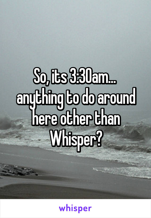 So, its 3:30am...  anything to do around here other than Whisper?