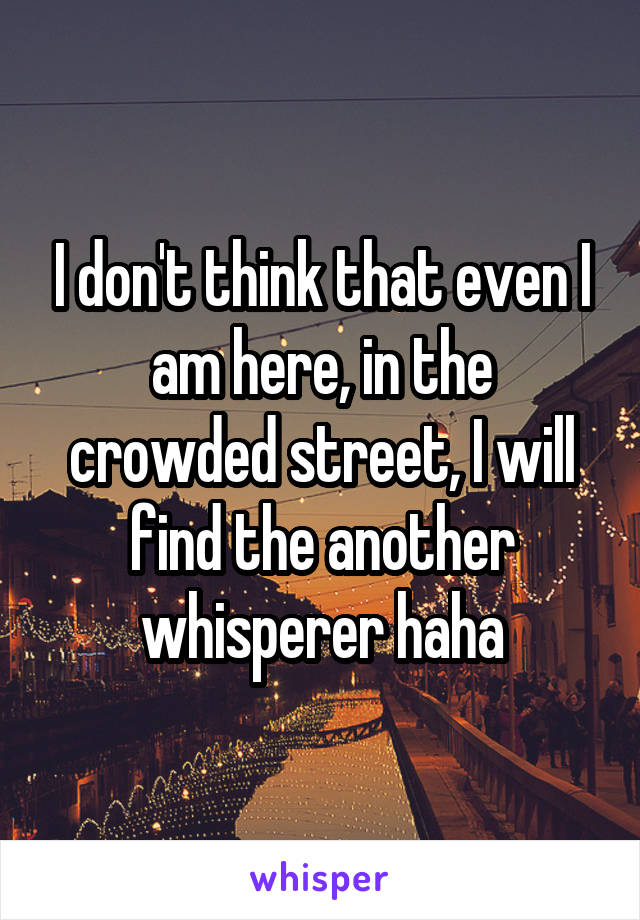 I don't think that even I am here, in the crowded street, I will find the another whisperer haha