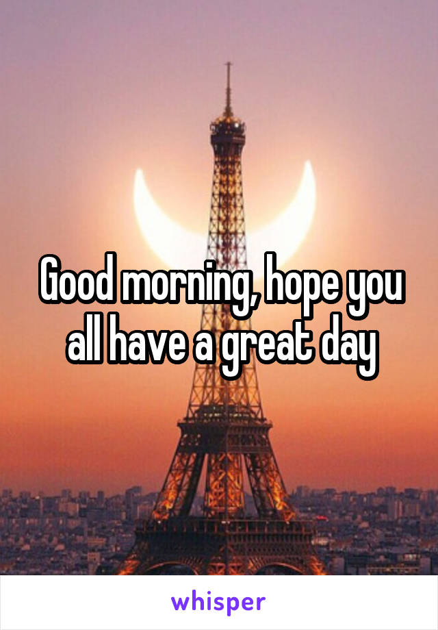 Good morning, hope you all have a great day
