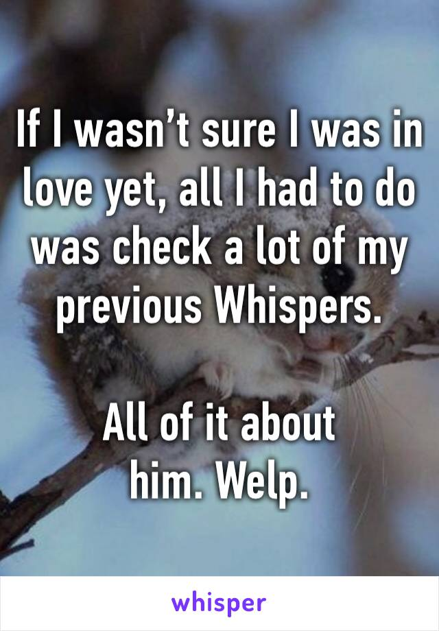 If I wasn't sure I was in love yet, all I had to do was check a lot of my previous Whispers.   All of it about him. Welp.