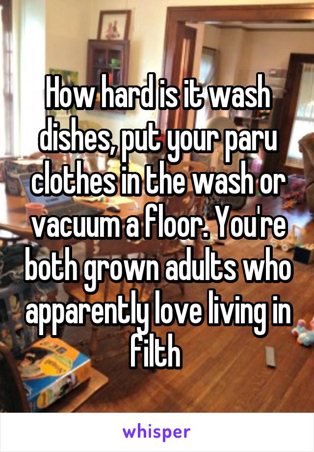 How hard is it wash dishes, put your paru clothes in the wash or vacuum a floor. You're both grown adults who apparently love living in filth