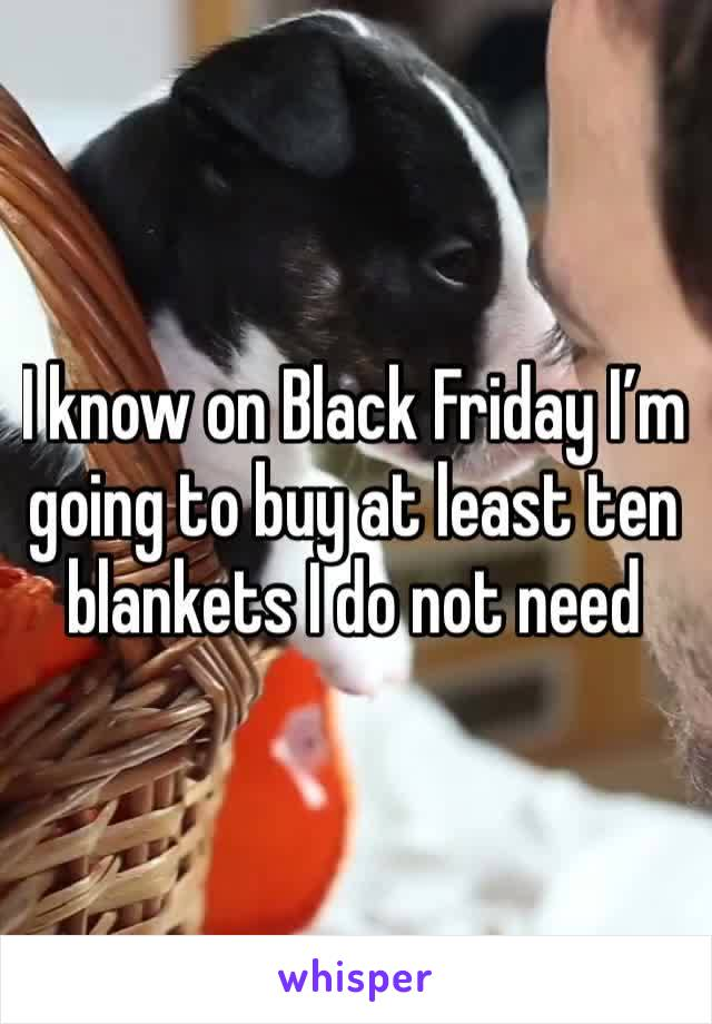 I know on Black Friday I'm going to buy at least ten blankets I do not need