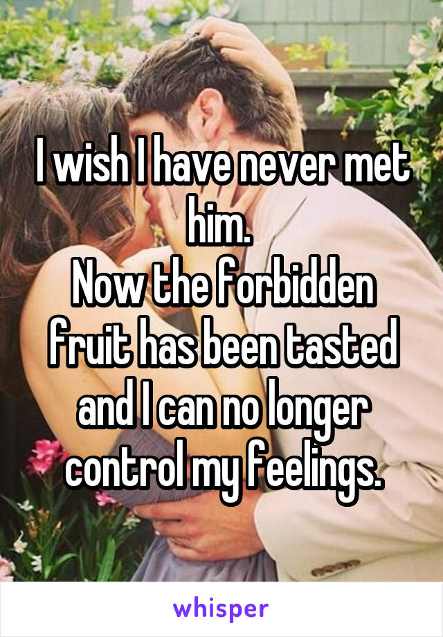 I wish I have never met him.  Now the forbidden fruit has been tasted and I can no longer control my feelings.